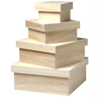 Set de 4 grandes boites carrées 24 cm, 20 cm, 15 cm et 10 cm