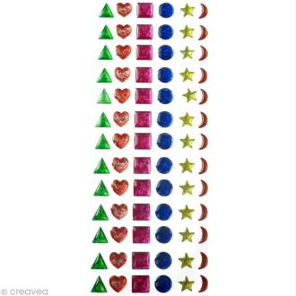 Strass autocollant enfant Cabochon multicolore 12 mm x 78