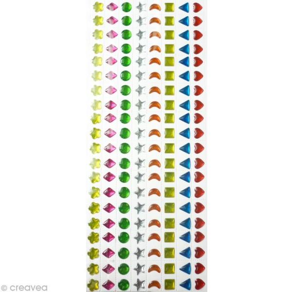 Strass autocollant enfant Bijoux multicolores 7 mm x 320 - Photo n°1