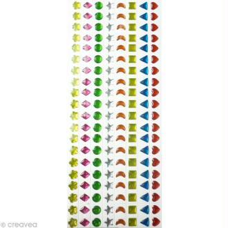 Strass autocollant enfant Bijoux multicolores 7 mm x 320