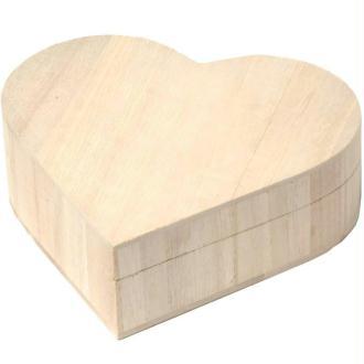 Boite à bijoux coeur en bois 17 cm