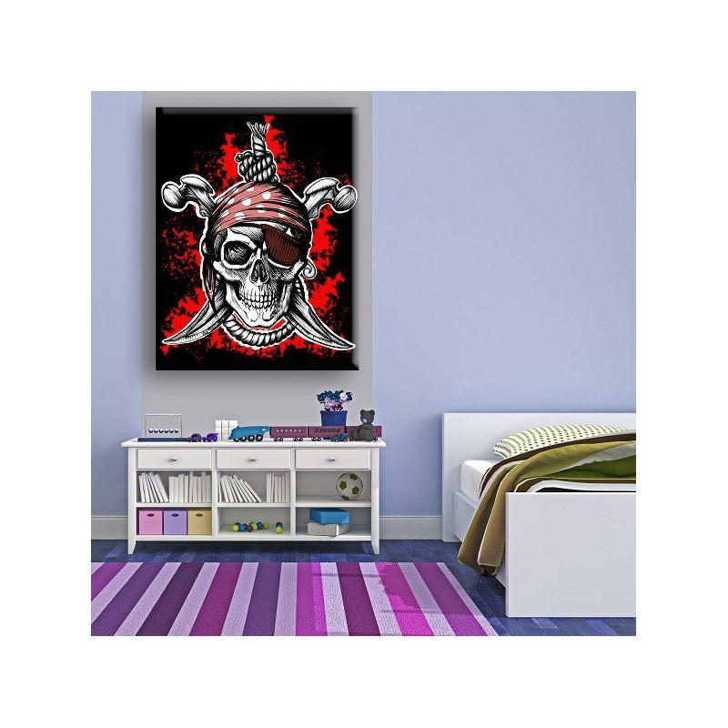 tableau t te de mort pirate sens normal 45 x 30 cm d co. Black Bedroom Furniture Sets. Home Design Ideas