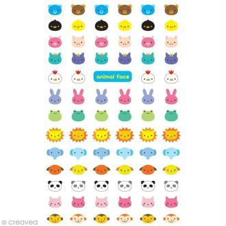 Funny stickers - epoxy - Animal tête bleue x 77