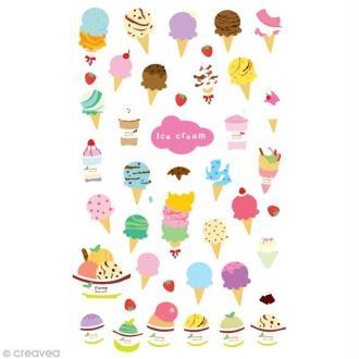 Funny stickers - epoxy - Ice cream x 38