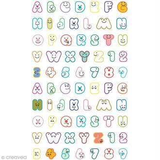 Funny stickers - epoxy - Alphabet qui rit x 70