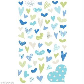 Funny stickers - epoxy - Coeurs bleu x 69