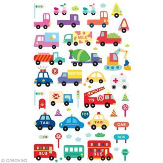 Funny stickers - epoxy paillettes - Voitures paillette x 60