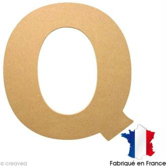 Lettre en bois 20 cm Q