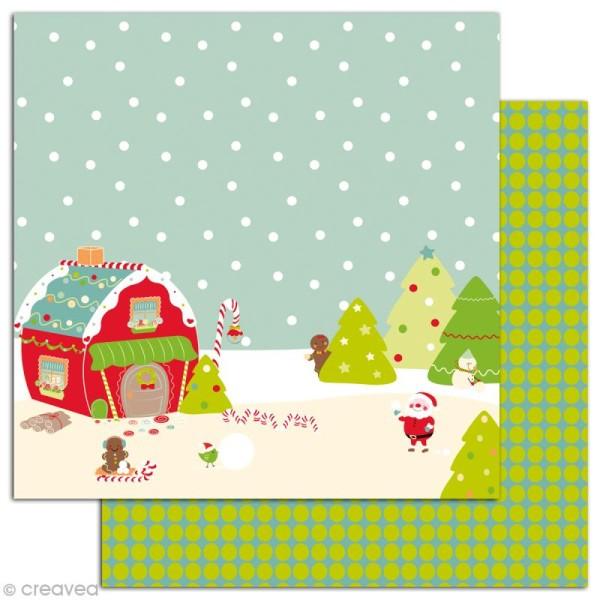 Papier scrapbooking Boules de neige et pains d'épices - Set 6 feuilles 30 x 30 cm - Recto Verso - Photo n°3