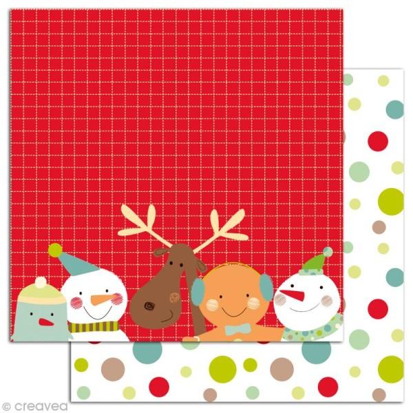 Papier scrapbooking Boules de neige et pains d'épices - Set 6 feuilles 30 x 30 cm - Recto Verso - Photo n°4