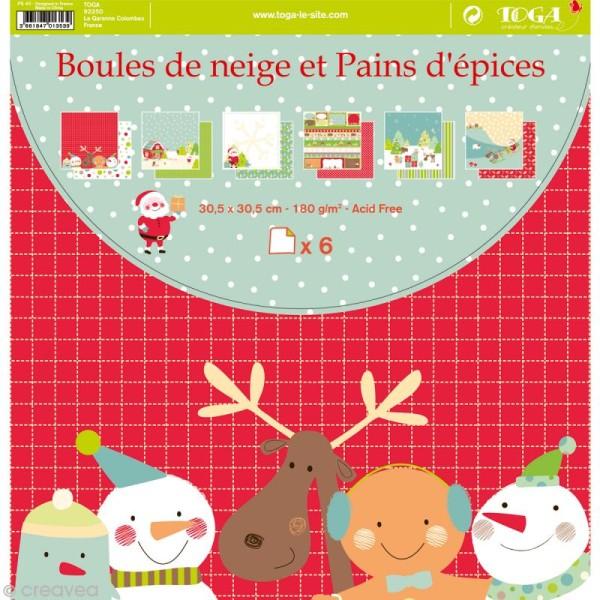 Papier scrapbooking Boules de neige et pains d'épices - Set 6 feuilles 30 x 30 cm - Recto Verso - Photo n°1