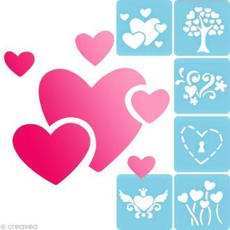 Pochoir à peindre Coeurs - 6 pochoirs différents