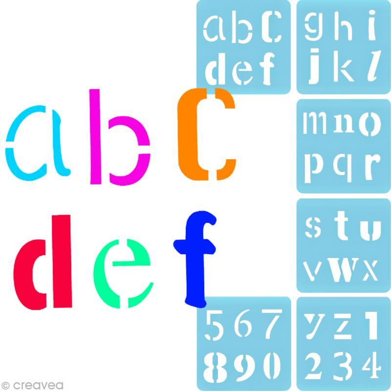 Pochoir peindre alphabet fantaisie 6 pochoirs for Pochoir a peindre