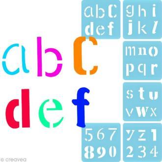 Pochoir à peindre Alphabet fantaisie - 6 pochoirs différents