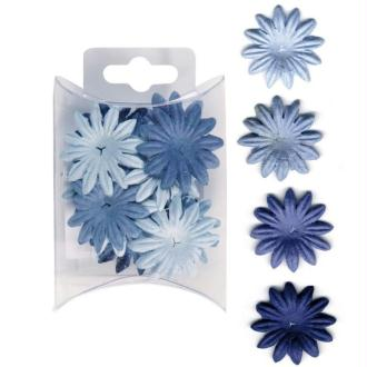 Fleur en papier mini modèle bleu x 16