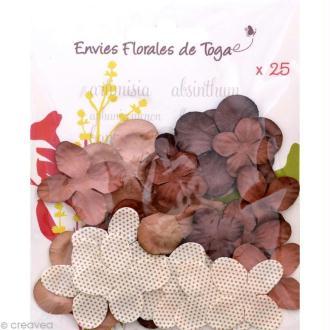 Fleurs en papier Marron - 25 pièces