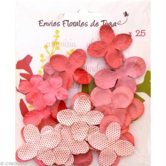 Fleurs en papier Rose - 25 pièces
