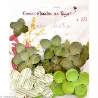 Fleurs en papier Vert - 25 pièces