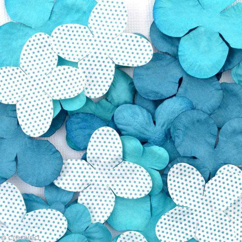 Fleurs en papier Bleu - 25 pièces - Photo n°2