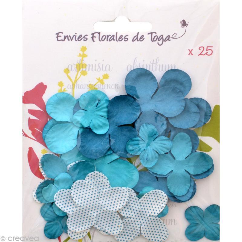 Fleurs en papier Bleu - 25 pièces - Photo n°1