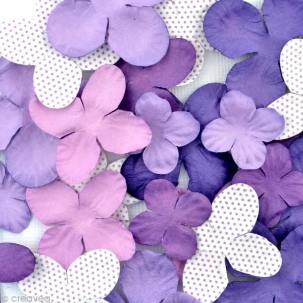 Fleurs en papier Violet - 25 pièces - Photo n°2