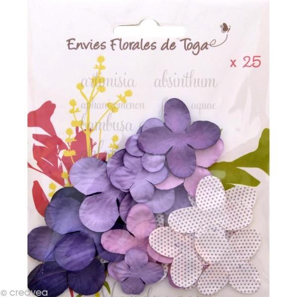 Fleurs en papier Violet - 25 pièces - Photo n°1