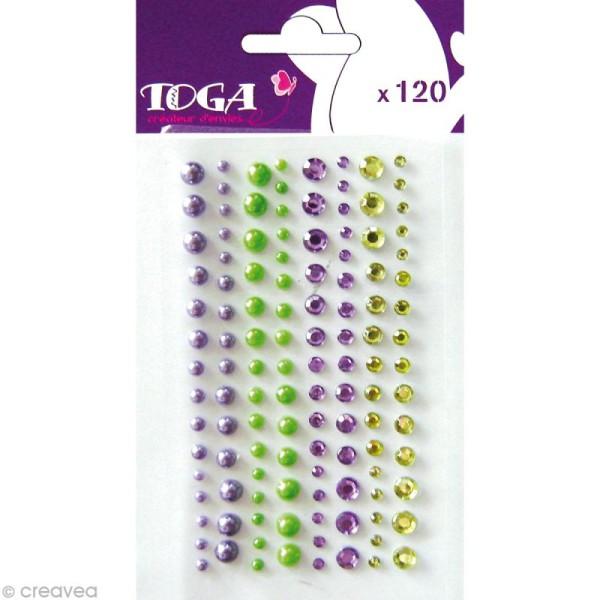 Strass et perles autocollants - Violet et Vert - 120 pièces - Photo n°1