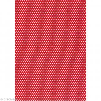 Daily like Rouge pois blanc - Tissu adhésif A4