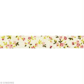 Masking Tape tissu - Fleurs saumon et vert - Daily Like 5 m