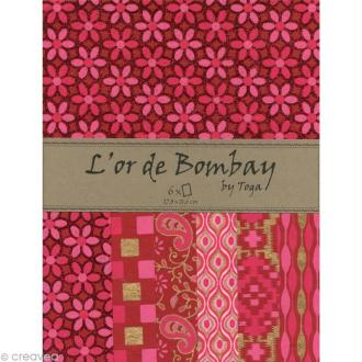 Papier scrapbooking recyclé - L'Or de Bombay - Fuchsia/Rouge/Or - Ass 6 feuilles 27,8 x 21,6 cm