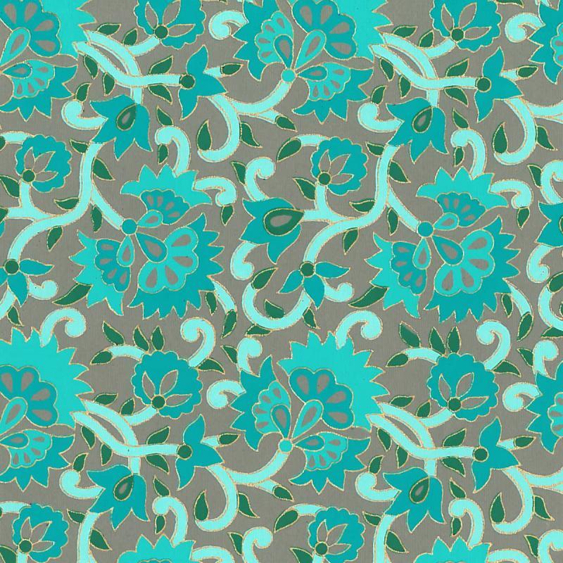Papier scrapbooking recyclé - L'Or de Bombay - Turquoise/Vert/Or - Ass 6 feuilles 27,8 x 21,6 cm - Photo n°3