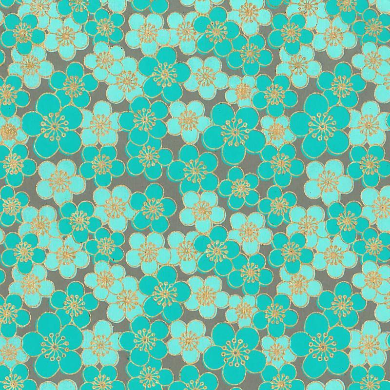 Papier scrapbooking recyclé - L'Or de Bombay - Turquoise/Vert/Or - Ass 6 feuilles 27,8 x 21,6 cm - Photo n°6