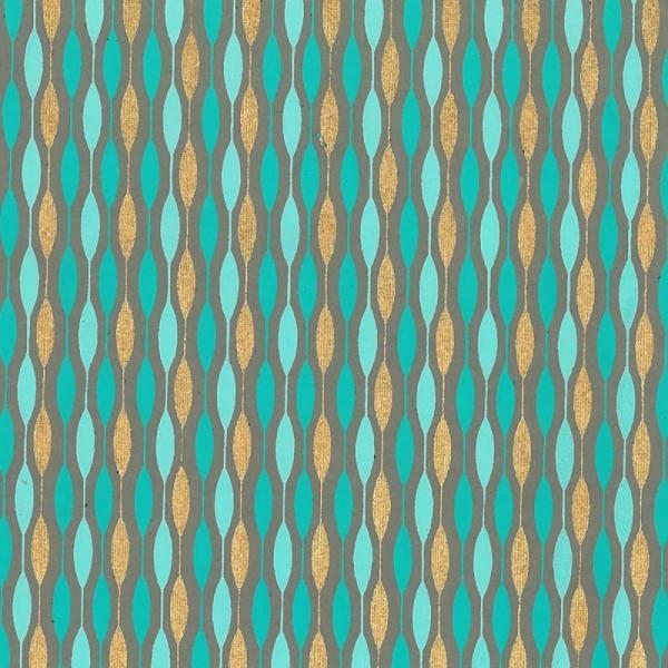 Papier scrapbooking recyclé - L'Or de Bombay - Turquoise/Vert/Or - Ass 6 feuilles 27,8 x 21,6 cm - Photo n°5