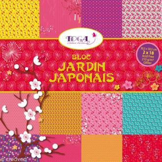Bloc Scrapbooking Toga Glitter - Jardin Japonais - 36 feuilles 30,5 x 30,5 cm