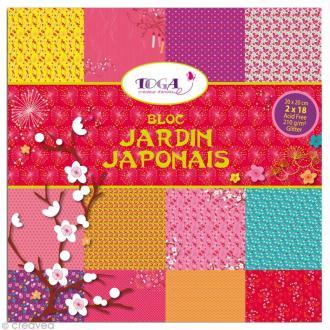 Bloc Scrapbooking Toga Glitter - Jardin Japonais - 36 feuilles 20 x 20 cm
