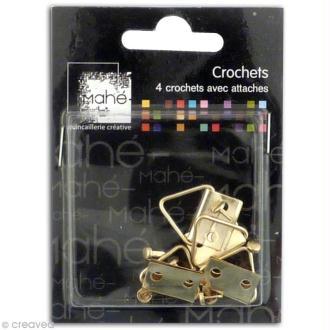 Crochets pour cadres 1,8 cm - Lot de 4 + 8 attaches parisiennes