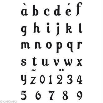 Tampons Crystal Toga - Alphabet Lola minuscule - 1 planche de 6 x 9 cm