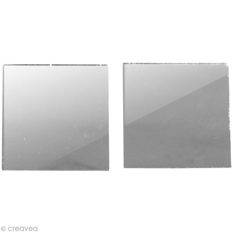 miroir carr 2 x 2 cm 50 pcs miroir autocollant carr creavea. Black Bedroom Furniture Sets. Home Design Ideas