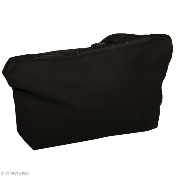 Pochette à cosmétique en tissu à décorer - noir 21 cm - Photo n°1