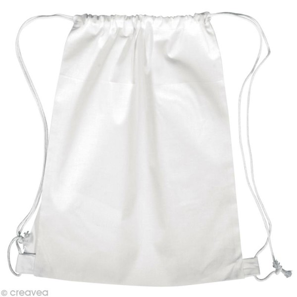 Sac de piscine en tissu à décorer - blanc 38 x 42 cm - Photo n°1