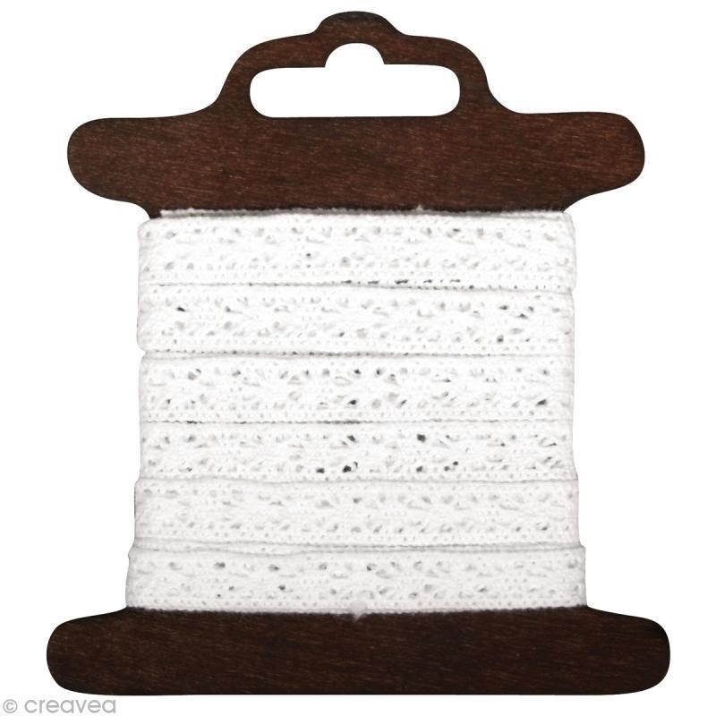 Galon dentelle en coton Lorena blanc - 1 cm x 3 m - Photo n°1
