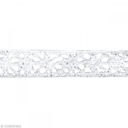 Galon dentelle en coton Lorena blanc - 1 cm x 3 m - Photo n°2