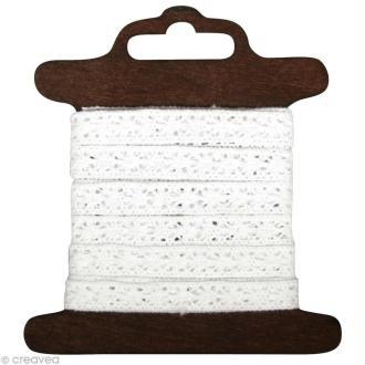 Galon dentelle en coton Lorena blanc - 1 cm x 3 m