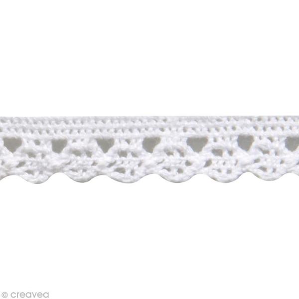 Galon dentelle en coton Amanda blanc - 1 cm x 3 m - Photo n°2