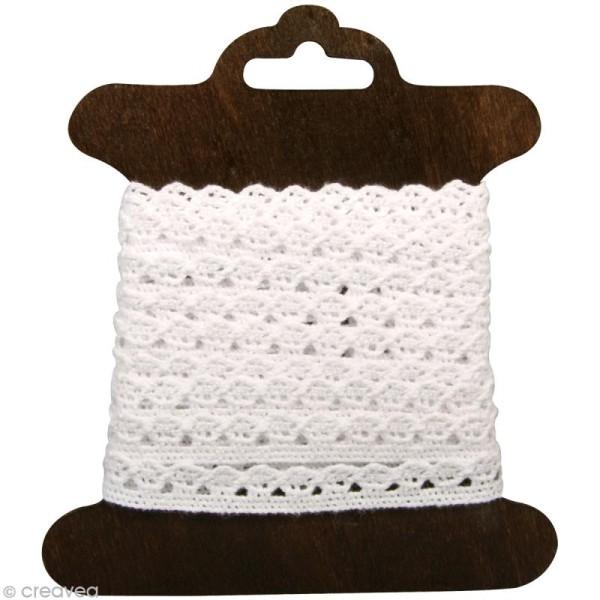 Galon dentelle en coton Amanda blanc - 1 cm x 3 m - Photo n°1