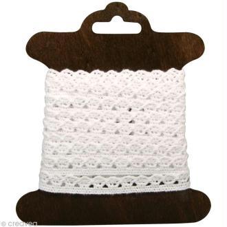 Galon dentelle en coton Amanda blanc - 1 cm x 3 m