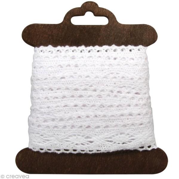 Galon dentelle en coton Cassandra blanc - 2,5 cm x 2,5 m - Photo n°1