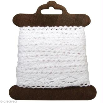 Galon dentelle en coton Cassandra blanc - 2,5 cm x 2,5 m