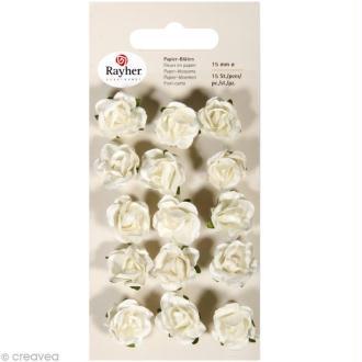 Rose en papier 15 mm - blanc x 15