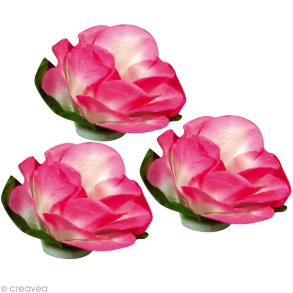 Rose en papier 15 mm - Rose oeillet x 15 - Photo n°2